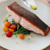Crispy Salmon On Wilted Greens