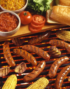 Aidell's Sausages on Grill