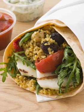 Wrap Sandwich With Halloumi & Couscous