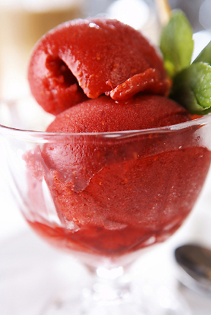 Strawberry Basil Sorbet
