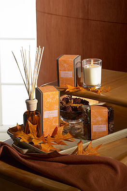 Fallen Leaves candles, diffuser reeds, autumn leaves